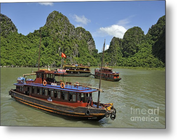 Junk Boats In Halong Bay Metal Print by Sami Sarkis