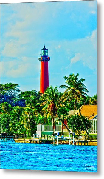 Jupiter Lighthouse Winter Metal Print