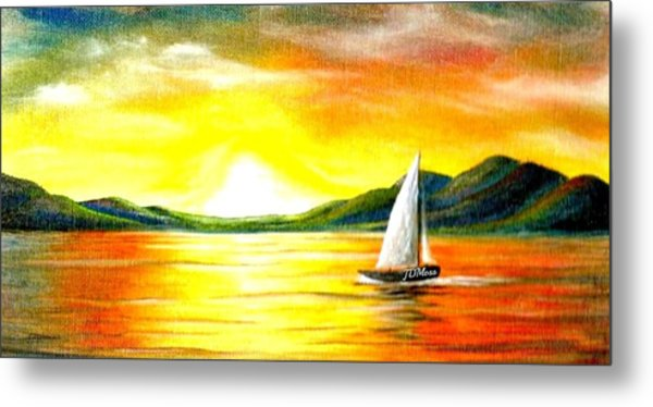 Justa Sailing Metal Print by Janet Moss