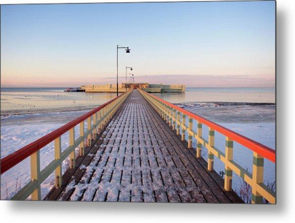 Kallbadhuset Pier At Dusk Metal Print by Secablue