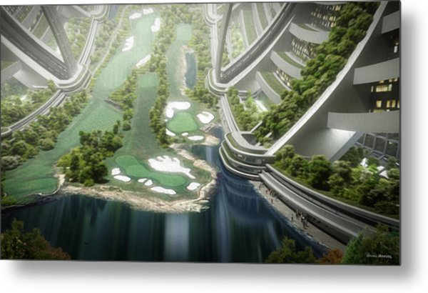 Metal Print featuring the digital art Kalpana One Golf Course by Bryan Versteeg