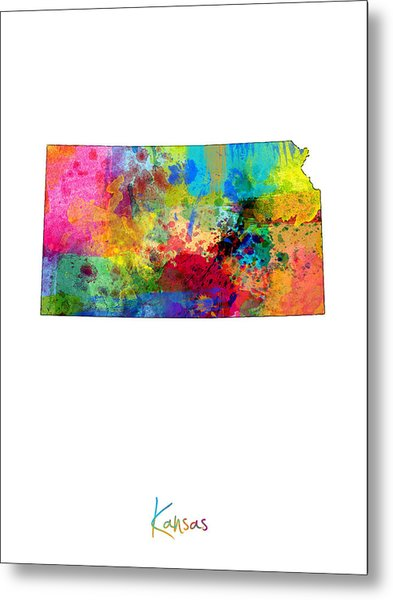 Kansas Map Metal Print