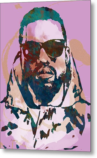 Kanye West Net Worth - Stylised Pop Art Drawing Potrait Poster Metal Print