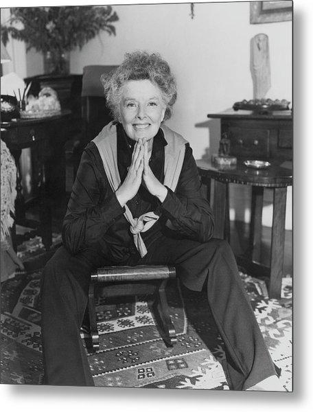 Katharine Hepburn Sitting In Her Apartment Metal Print