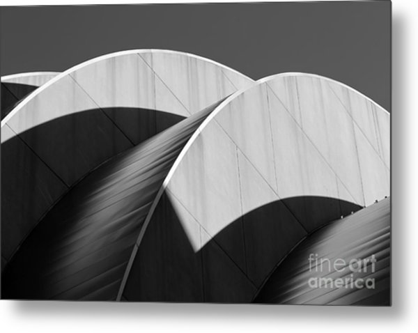 Kauffman Center Curves And Shadows Black And White Metal Print