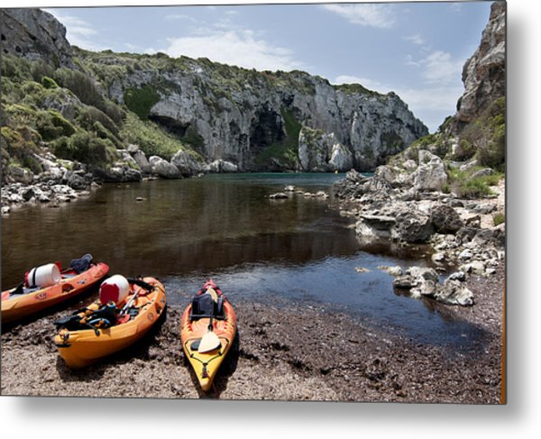 Kayak Time - The Landscape Of Cales Coves Menorca Is A Great Place For Peace And Sport Metal Print