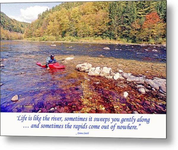 Kayaker Running A River Metal Print