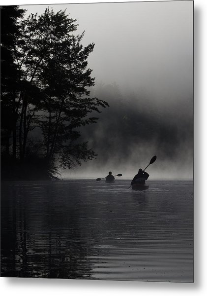 Kayaking In The Fog Metal Print