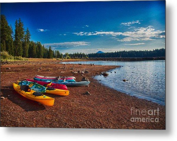 Metal Print featuring the painting Kayaking On Howard Prairie Lake In Oregon by Omaste Witkowski
