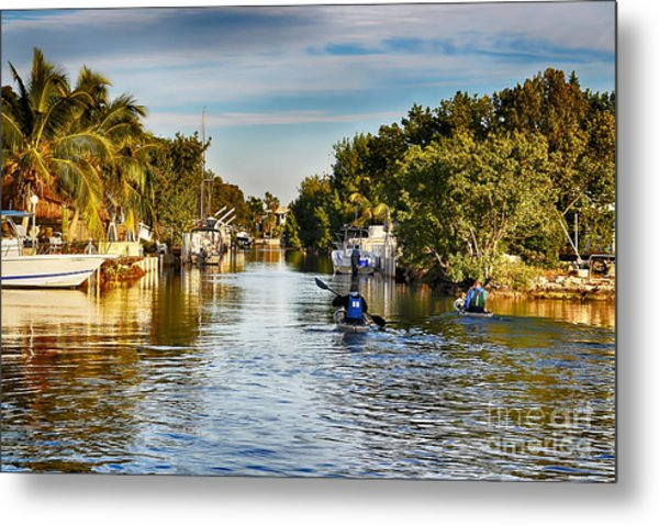 Kayaking The Canals Metal Print