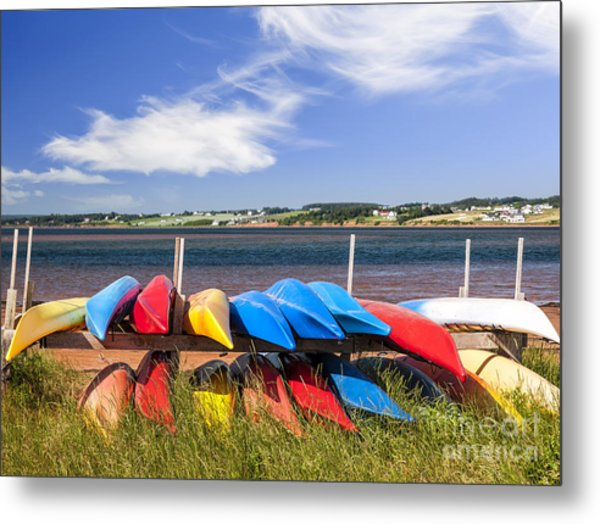 Kayaks At Atlantic Shore  Metal Print