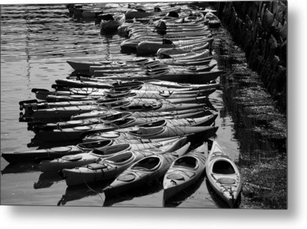 Kayaks At Rockport Black And White Metal Print