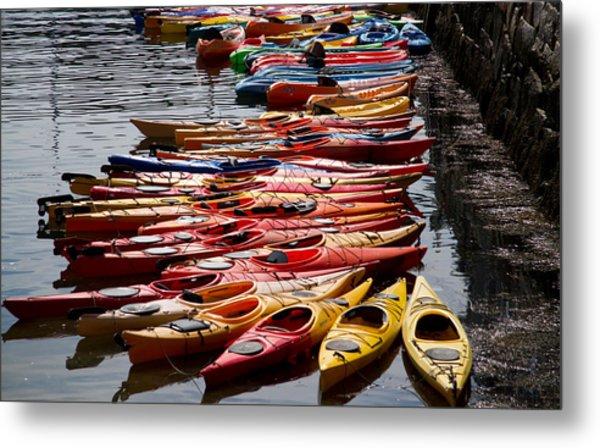 Kayaks At Rockport Metal Print