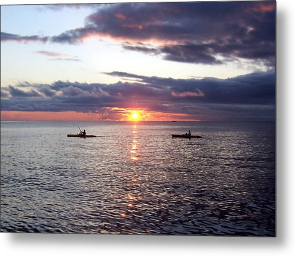 Kayaks At Sunset Metal Print