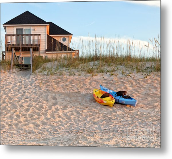 Kayaks Rest On Sand Dune In Morning Sun. Metal Print