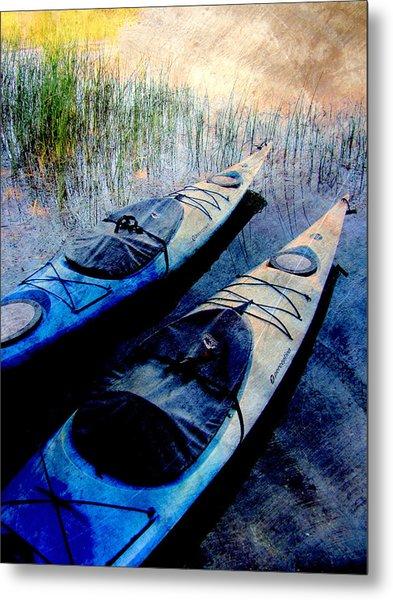 Kayaks Resting W Metal Metal Print