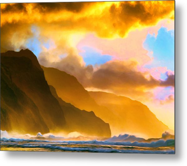 Ke'e Beach Sunset Metal Print