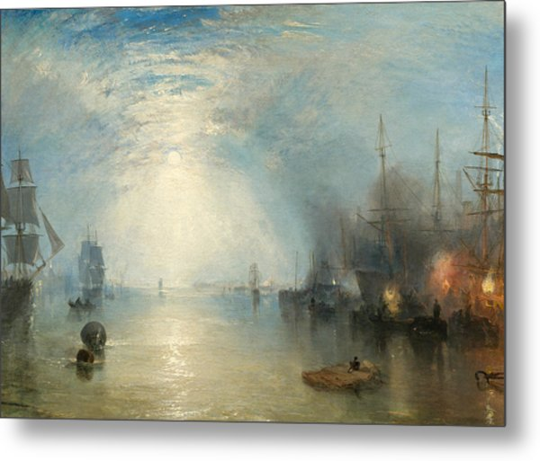 Keelmen Heaving In Coals By Moonlight Metal Print