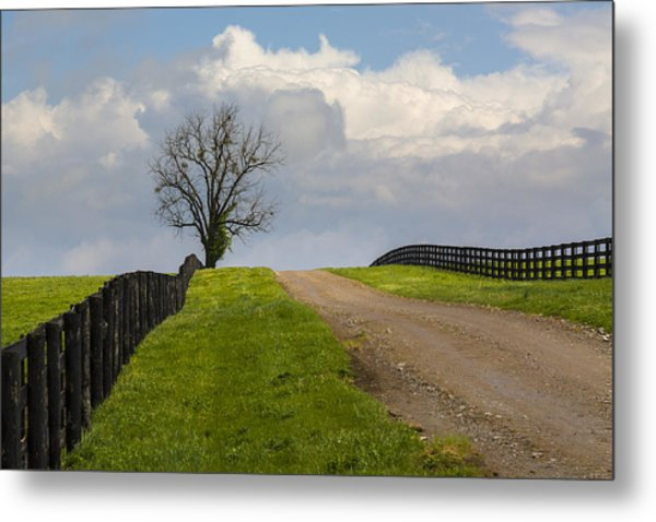 Kentucky Horse Farm Road Metal Print
