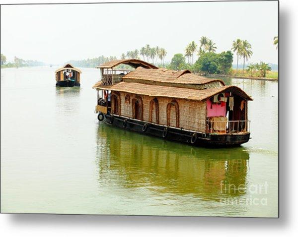 Kerala Houseboats Metal Print