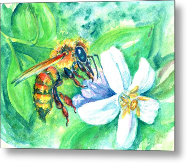 Key Lime Honeybee Metal Print