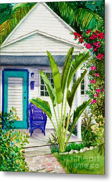 Key West Cottage Watercolor Metal Print