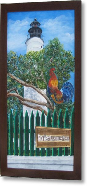 Key West Lighthouse Rooster Metal Print
