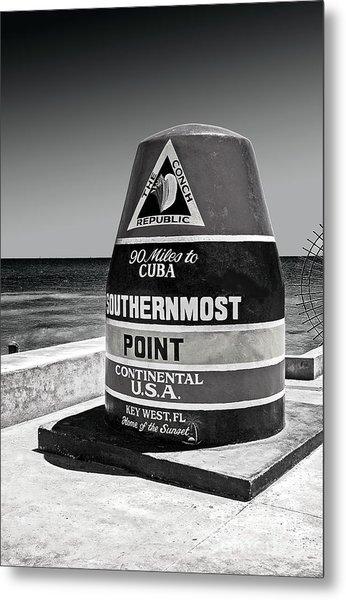 Key West Cuba Distance Marker Metal Print