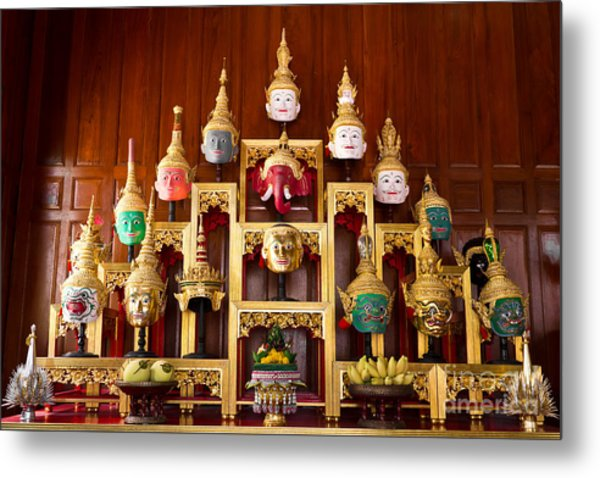 Khon Masks Is Situated On The Set Of Altar Table Metal Print
