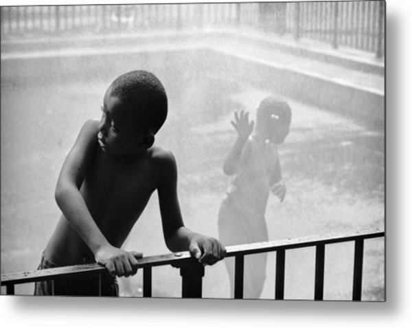 Kid In Sprinkler Metal Print
