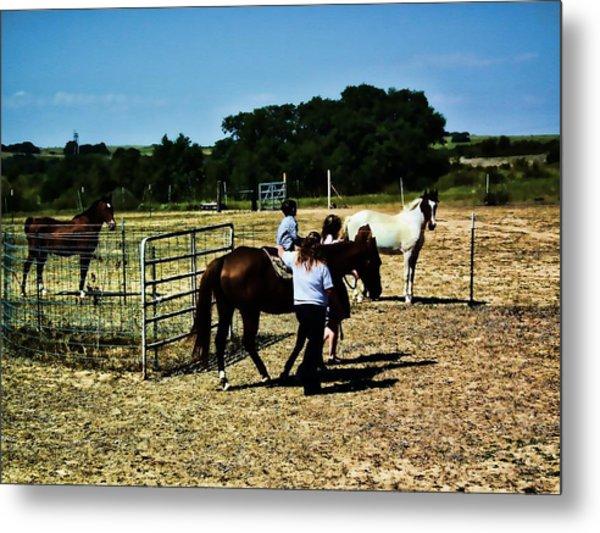 'kids Horse Heaven Paint' Metal Print