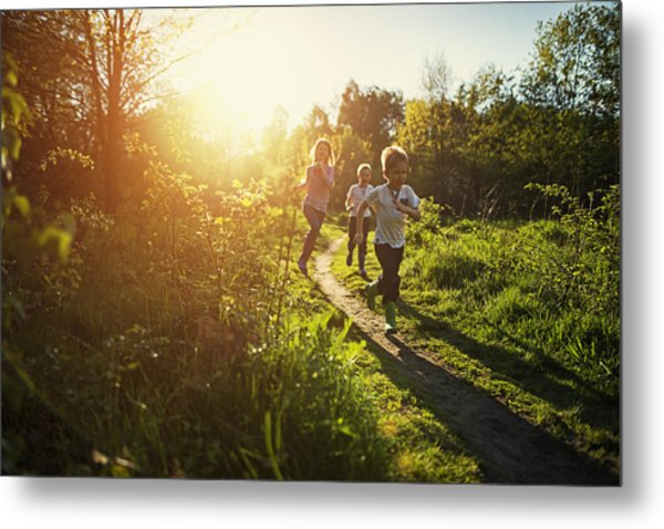 Kids Running In Nature. Metal Print by Imgorthand