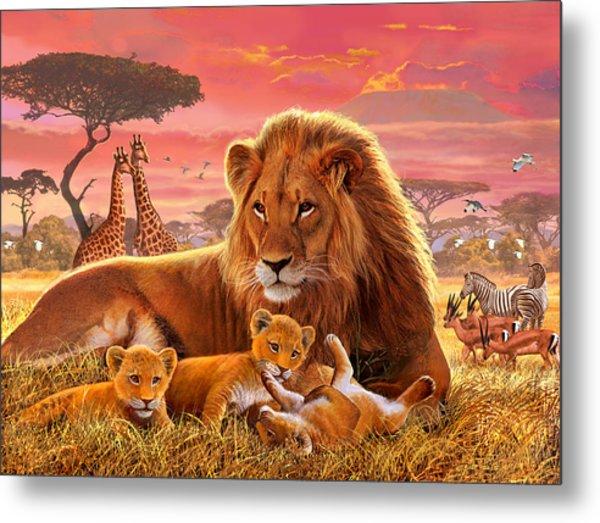 Kilimanjaro Male Lion With Cubs Metal Print