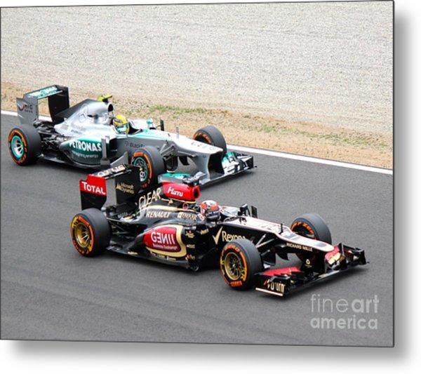 Kimi Raikkonen And Lewis Hamilton Metal Print