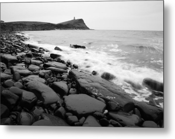 Kimmeridge Bay In Black And White Metal Print