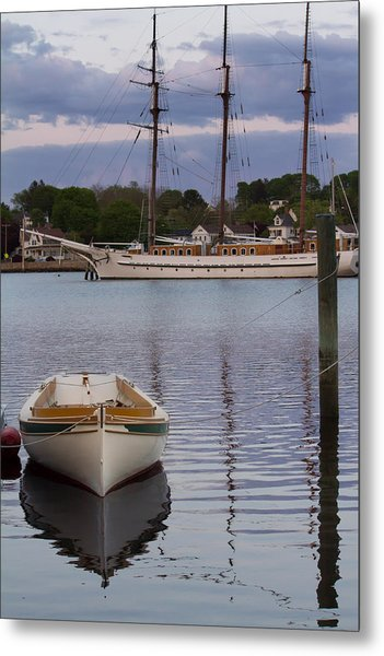 Kindred Spirits - Boat Reflections On The Mystic River Metal Print
