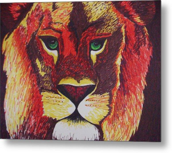 Lion In Orange Metal Print