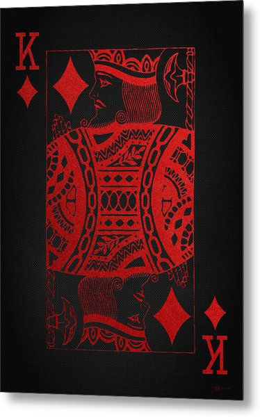 King Of Diamonds In Red On Black Canvas   Metal Print