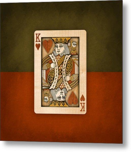 King Of Hearts In Wood Metal Print