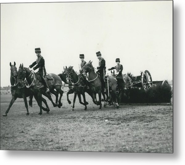 King�s Troop Of The R.h.a. Rehearse�. Even The Gun Goes Metal Print by Retro Images Archive