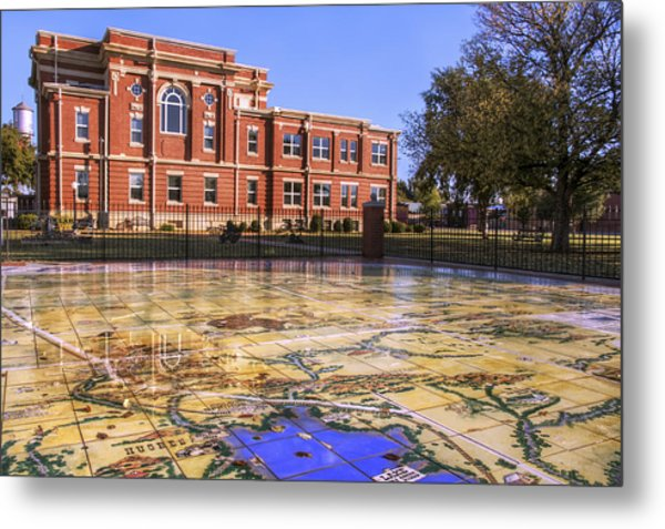 Kiowa County Courthouse With Mural - Hobart - Oklahoma Metal Print