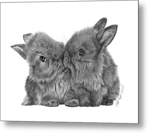 Kissing Bunnies - 035 Metal Print