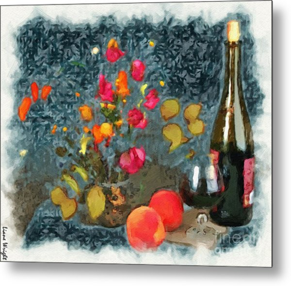 Kitchen - Peaches And Wine Painting  Metal Print