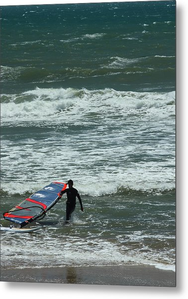 Kiteboarder Pacific Coast Highway Metal Print by Gail Maloney