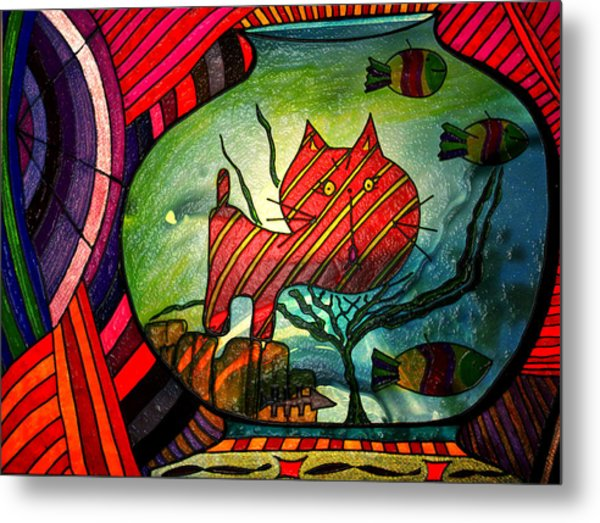 Kitty In A Fish Bowl - Abstract Cat Metal Print