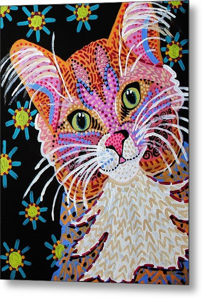 Pink Kitty From Krelly Art Metal Print