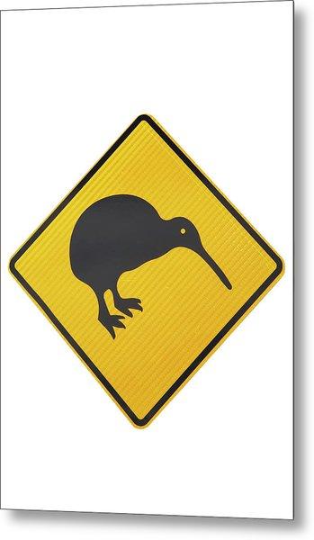 Kiwi Warning Sign, New Zealand Metal Print by David Wall