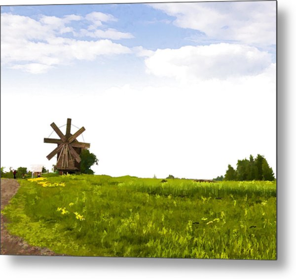 Kizhi Island Windmill Russia Metal Print by Glen Glancy