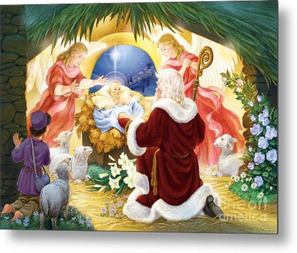 Kneeling Santa Nativity Metal Print
