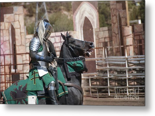 Knight And His Horse Metal Print